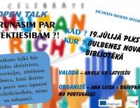 """Brīvprātīgā no Portugāles organizē diskusiju - OPEN TALK """"Parunāsim par cilvēktiesībām?! """""""