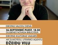 Eiropas kultūras vakars ar tulkotāju, literāro aģentu Džeidu Vilu